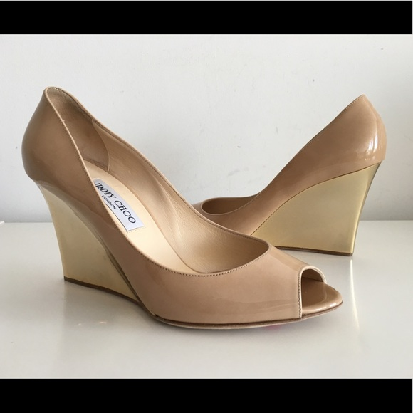536e9188c65 JIMMY CHOO BAXEN NUDE PATENT LEATHER WEDGE PUMP